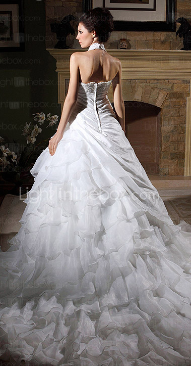 Ball Gown High Neck Chapel Train Organza Tiered Wedding Gown