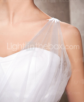 A-line Tulle Wedding Dress With Straps And Sweep/Brush Train