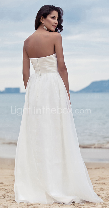 Sheath/Column Strapless Floor-length Organza Wedding Dress