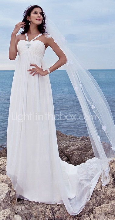Sheath/Column Spaghetti Straps Sweep/Brush Train Chiffon Over Satin Wedding Dress