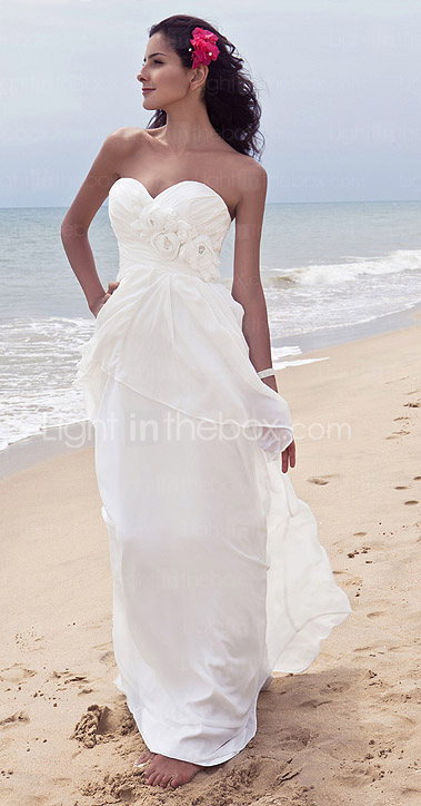 Sheath/Column Strpaless Floor-length Chiffon Wedding Dress