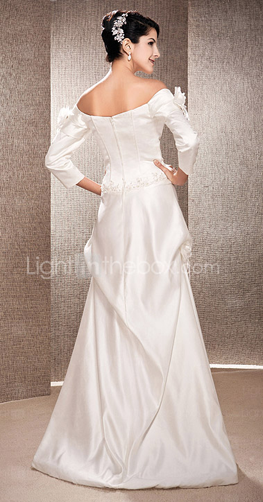 Sheath/Column Off-the-shoulder Floor-length Satin  Wedding Dress