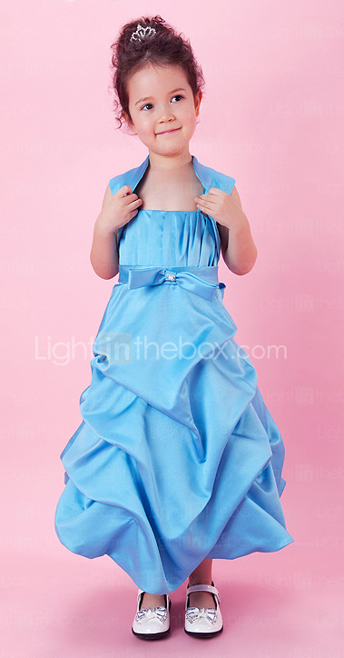 A-line Satin Tea-length Flower Girl Dress With Spaghetti Straps