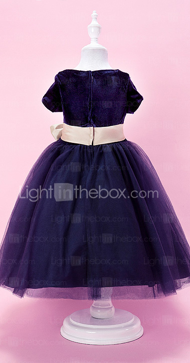 A-line Jewel Tea-length Velvet And Tulle Flower Girl Dress