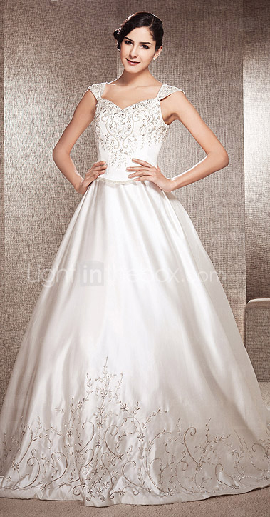 A-line V-neck Chapel Train Satin Wedding Gown