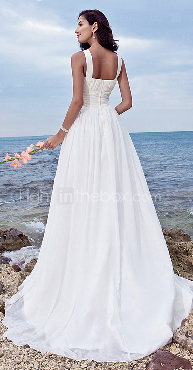Sheath/ Column Jewel Sweep / Brush Train Chiffon Wedding Dress