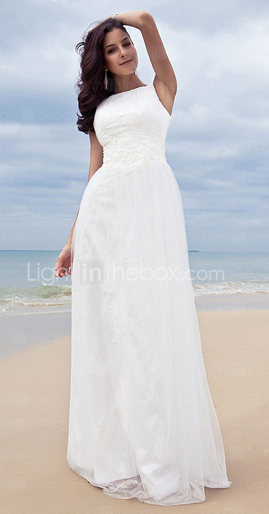 Sheath / Column Jewel Tulle Wedding Dress With Wrap