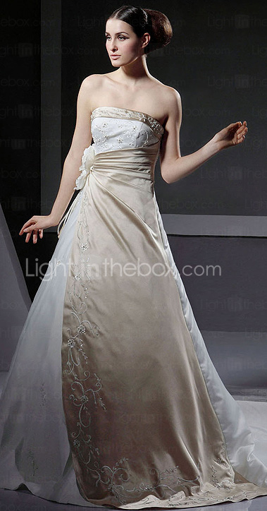 A-line Strapless Neckline Chapel Train Satin Wedding Dress