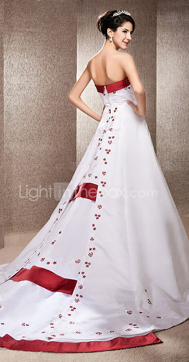 A-line Strapless Chapel Train Satin Wedding Dress