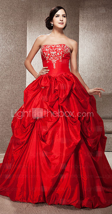 Ball Gown Strapless Sleeveless Taffeta Chapel Train Red Wedding Dress
