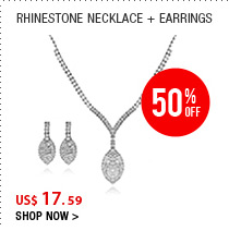Rhinestone Necklace + Earrings