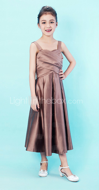 A-line Tea-length Satin Junior Bridesmaid Dress With Straps