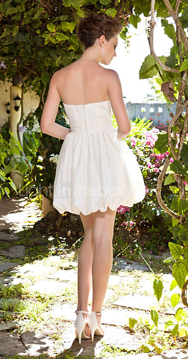 A-line Strapless Short Mini Satin Wedding Dress