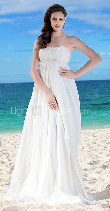 Sheath/Column Strapless Empire Waist Floor-length Chiffon Wedding Dress
