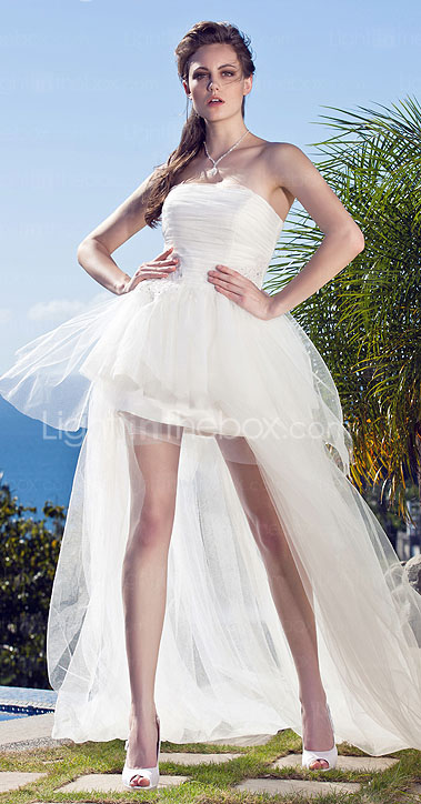 Ball Gown Strapless Asymmetrical Tulle Wedding Dress