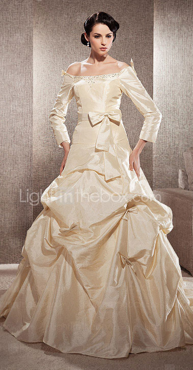 A-line Off-the-shoulder Court Train Taffeta Wedding Dress