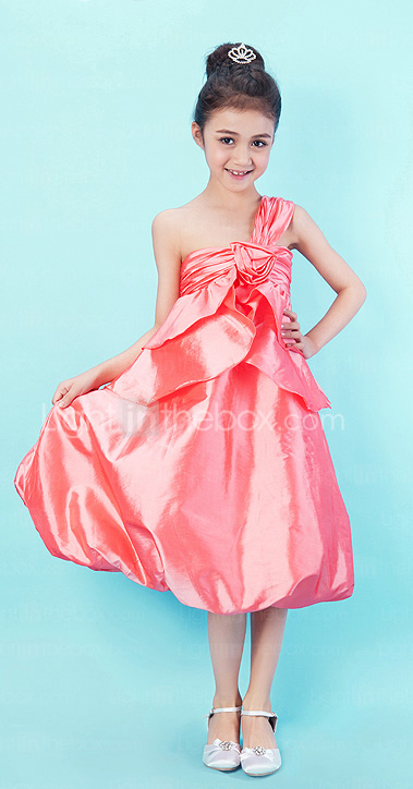 A-line One Shoulder Tea-length Taffeta Junior Bridesmaid Dress