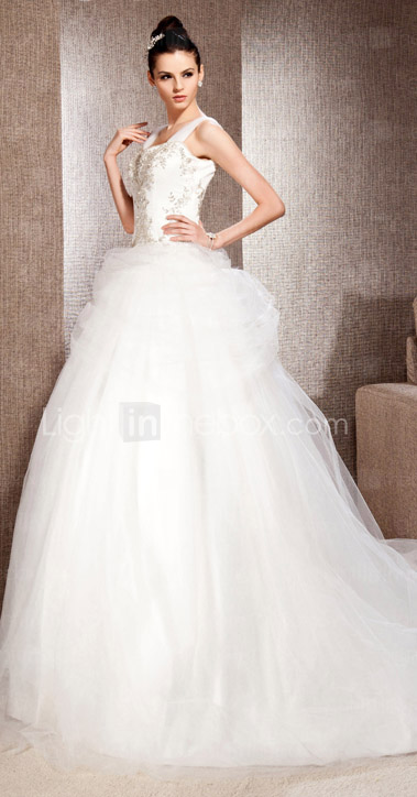 A-line With Straps Chapel Train Satin And Tulle Wedding Dress