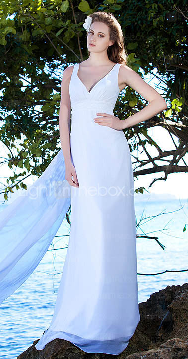 Chiffon Sheath/ Column with Watteau Train and Beading Wedding Dresses