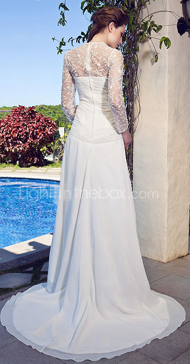 Sweetheart Neck Lace And Chiffon Wedding Dress With Sweep/Brush Train
