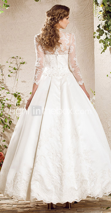 une ligne sweetheart les trains dentelle robe de marie en satin inspire par Kate Middleton