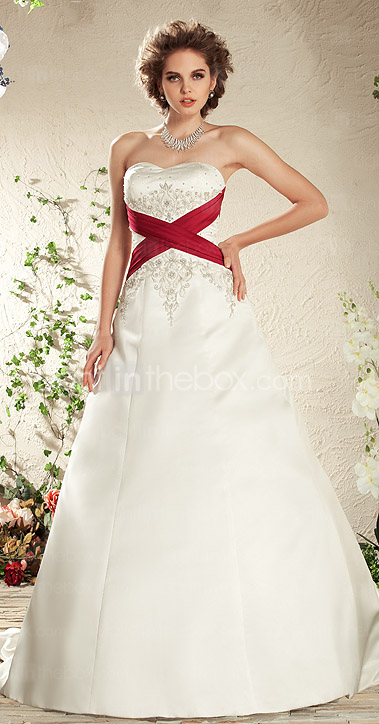 A-line Sweetheart Court Train Satin Criss Cross Wedding Dress