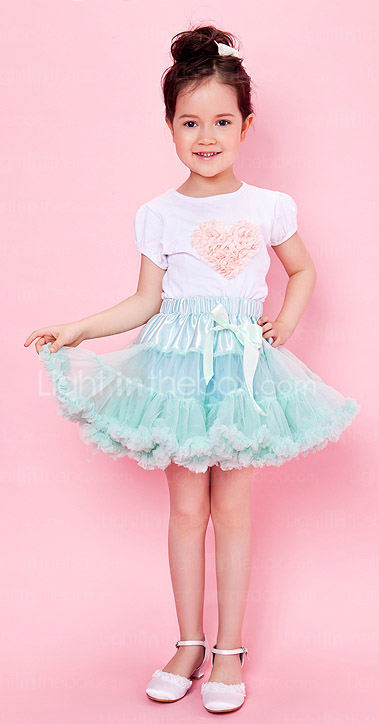 Blue Trimming Bowknot Chiffon Girl Skirt With Lining
