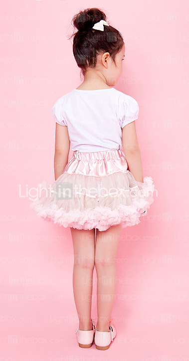 Pink Trimming Bowknot Chiffon Girl Skirt