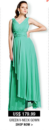 Green V-Neck Gown