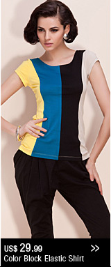 Color Block Elastic Shirt