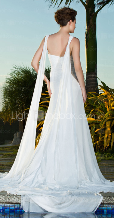 Sheath/Column Straps Sweetheart Chapel Train Chiffon Wedding Dress