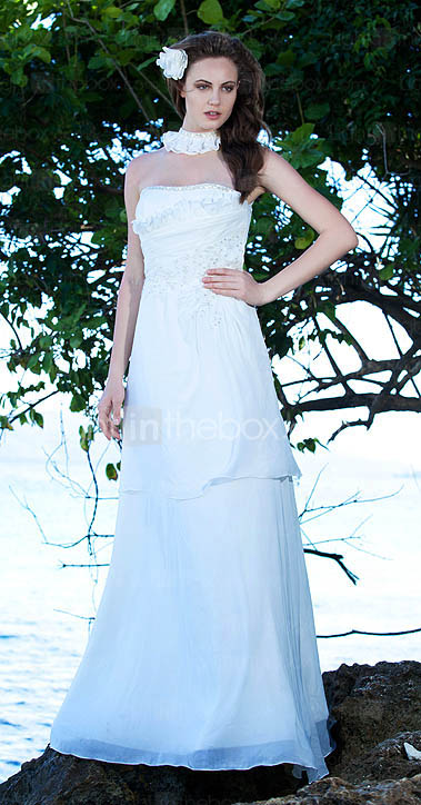 Sheath/Column Halter  Sweep/Brush Train Satin Chiffon Wedding Dress 