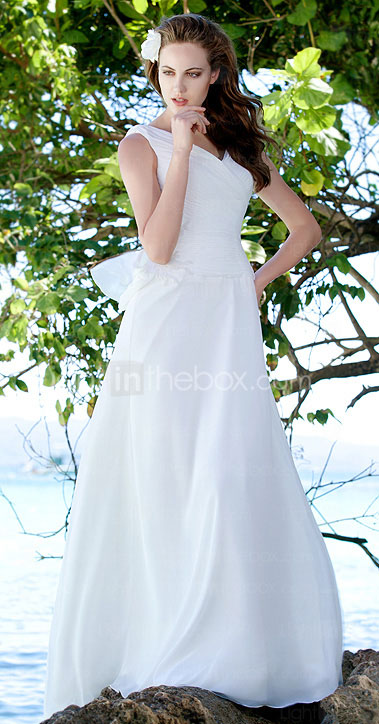 Sheath/Column V-neck  Sweep / Brush Train Satin  Chiffon Wedding Dress