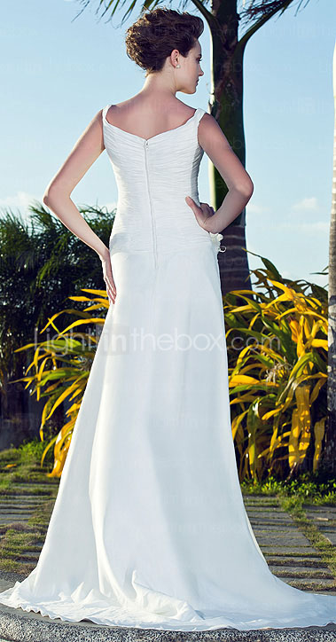 Sheath/Column Straps V-neck Court Train Chiffon Wedding Dress
