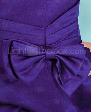 A-line Spaghetti Straps Knee-length Satin Junior Bridesmaid Dress