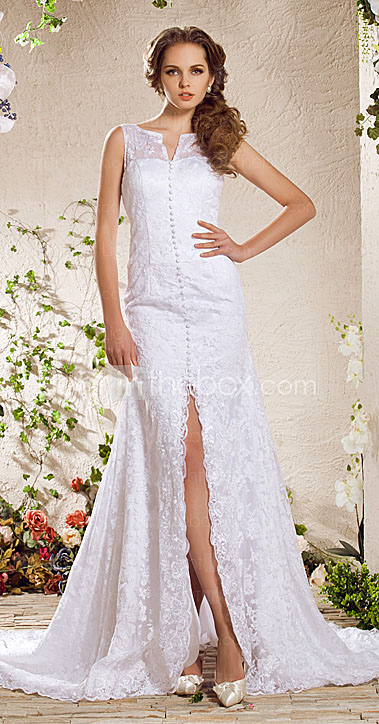 Charming A-line V-neck Chapel Train Lace Weeding Dress