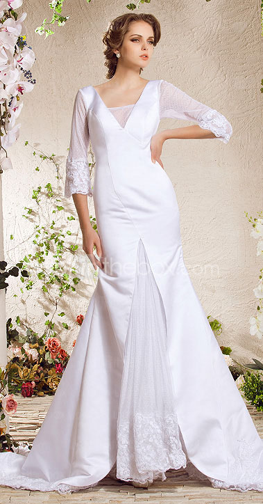 Trumpet/Mermaid V-neck Chapel Train Satin Lace Weeding Dress