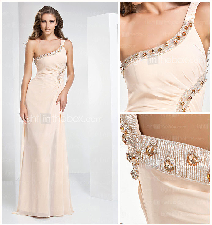 Sheath/ Column One Shoulder Floor-length Chiffon Evening Dress