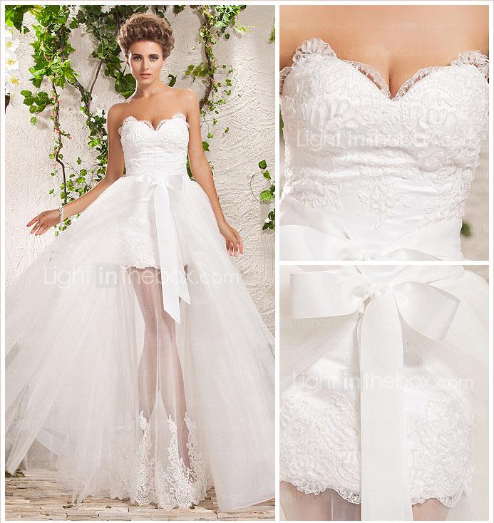 Свадебное платье с короткой юбкой