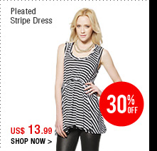 Pleated Stripe Dress