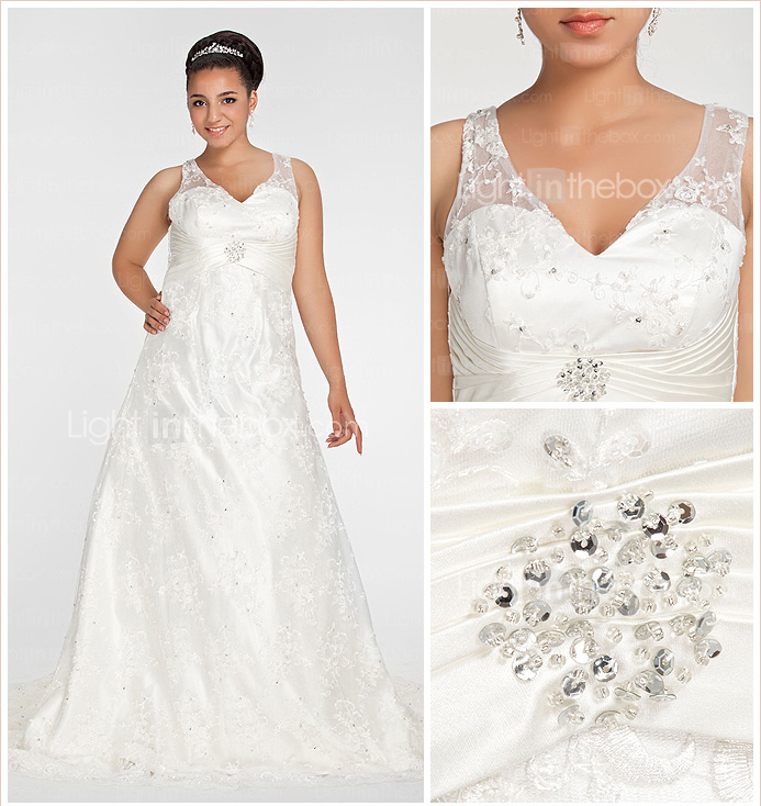 A-line V-neck Chapel Train Lace Plus Size Wedding Dress