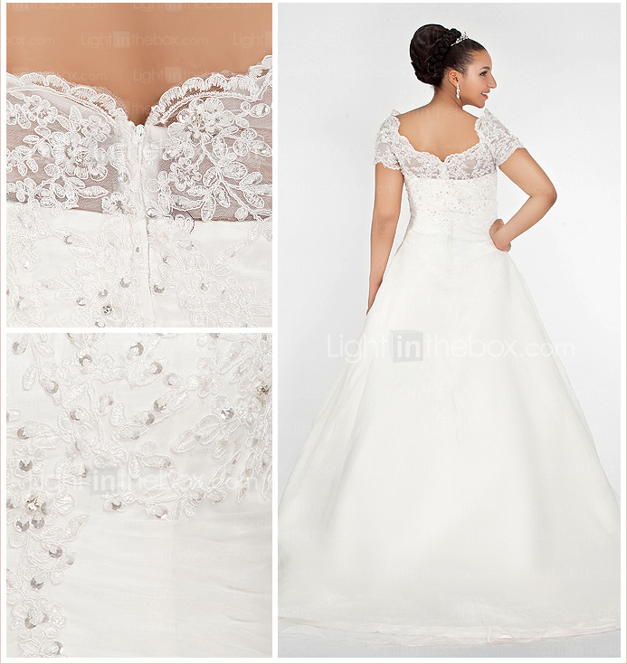 Ball Gown Off-the-shoulder Chapel Train Organza Plus Size Wedding Dress