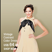 Vintage Contrast Color Dress
