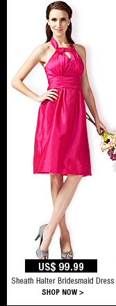 Sheath Halter Bridesmaid Dress