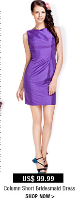 Column Short Bridesmaid Dress