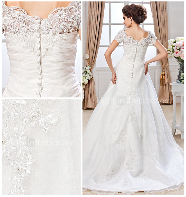 Ball Gown Off-the-shoulder Chapel Train Organza Wedding Dress
