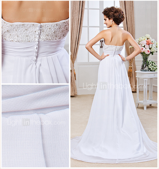 Sheath/ Column Strapless Court Train Chiffon Wedding Dress
