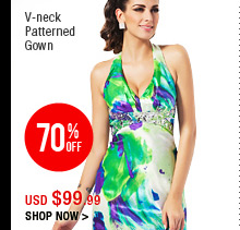 V-neck Patterned Gown