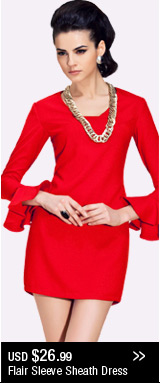 Flair Sleeve Sheath Dress