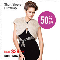 Short Sleeves Fur Wrap